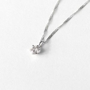 18金 ホワイトゴールド ダイヤモンド 0.1ct ペンダント ネックレス - 拡大画像