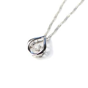 ダンシングストーン プラチナ ダイヤモンド しずく型 ペンダント スクリューチェーン - 拡大画像