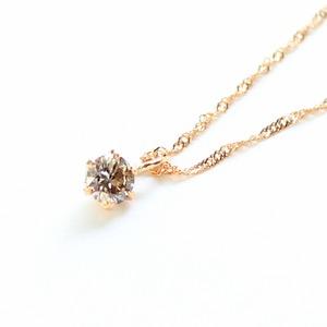 18金ピンクゴールド ブラウンダイヤモンド 0.1ct ペンダント ネックレス - 拡大画像