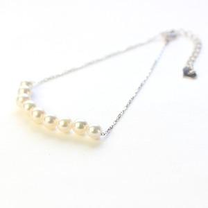 18金 ホワイトゴールド アコヤ真珠 ライン ブレスレット - 拡大画像