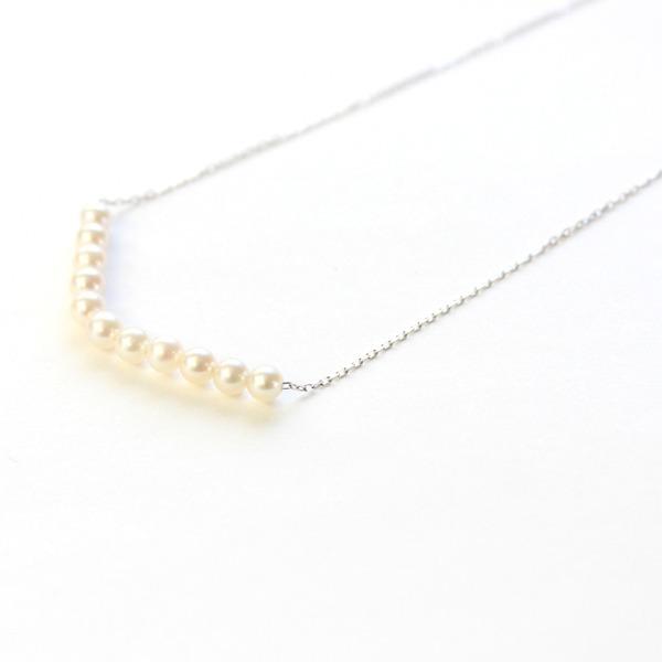 18金 ホワイトゴールド アコヤ真珠 ライン ペンダント