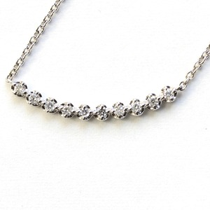 純プラチナ ダイヤモンド ラインペンダント ネックレス - 拡大画像