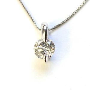 0.3ct 純プラチナ 2本爪 ダイヤモンド ペンダント ネックレス - 拡大画像