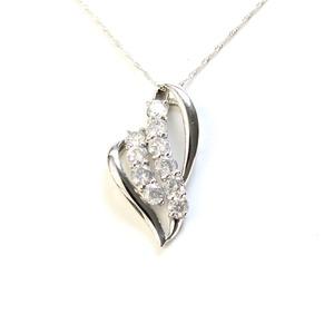 純プラチナ 1ct ダイヤモンド ネックレス ペンダント - 拡大画像
