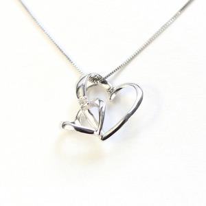 ダブルハート ダイヤモンド ネックレス ペンダント ホワイトゴールド  - 拡大画像