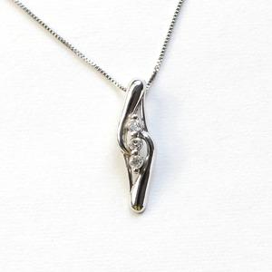 ダイヤモンド ネックレス ライン ラインストーン ペンダント ホワイトゴールド - 拡大画像