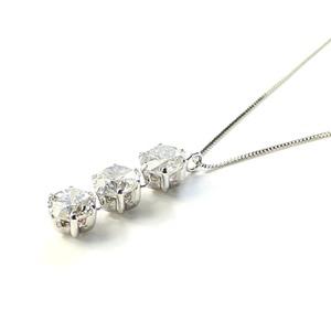 1.5ct プラチナ スリーストーン ダイヤモンド ペンダント ネックレス - 拡大画像