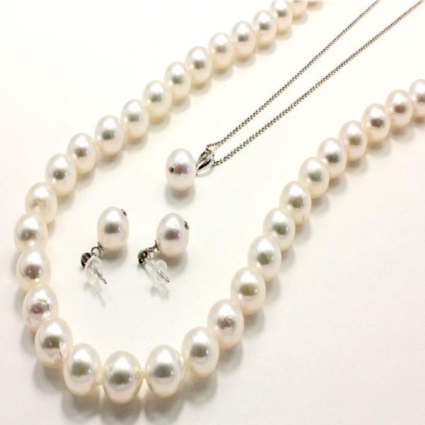 送料無料 アコヤ本真珠 8.5-9.0mm珠 ネックレス&ピアス&ペンダント 3点セット【代引不可】 ファッション:ピアス・イヤリング:天然石:そ