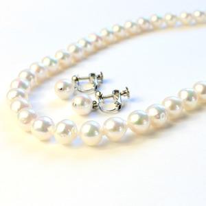 アコヤ本真珠 8.5-9.0mm珠 ネックレス&イヤリング - 拡大画像