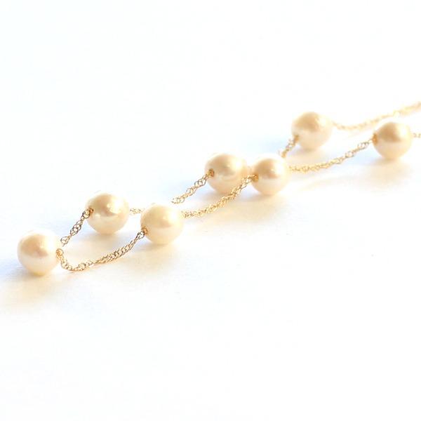 あこや真珠  【送料無料】真珠 ステーションネックレス イエローゴールド パール スクリューチェーン