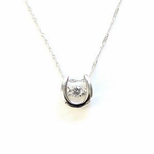 プラチナ 天然 ダイヤモンド 馬蹄  ダンシングストーン ネックレス クリューチェーン - 拡大画像
