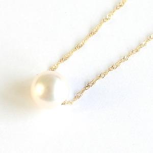 花珠真珠 8mm珠 ネックレス k10 パール ペンダント - 拡大画像