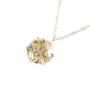 プラチナ 一粒 ダイヤモンド ネックレス ブラウンダイヤ ペンダント  - 拡大画像