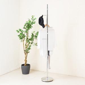 スリムポールスタンド(シルバー/銀) ポールハンガー/スチール製/高さ177cm/アイアン/帽子掛け/コートハンガー/収納/スリム/コンパクト/モダン/高級感/NK-510