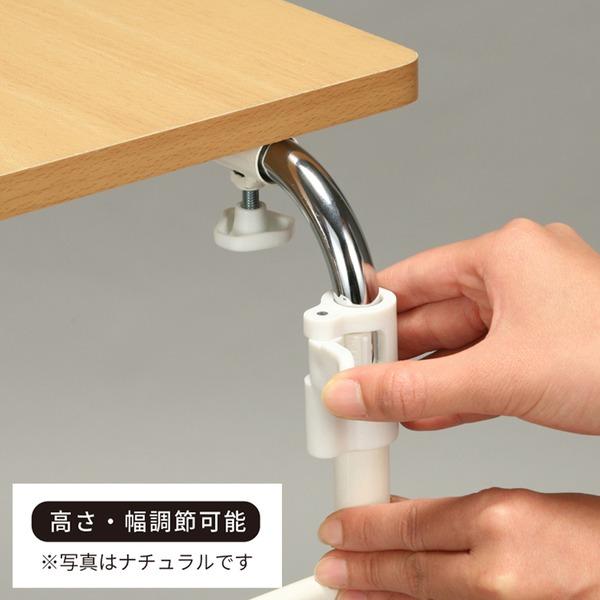 伸縮式ベッドテーブル(ブラウン/茶) サイドテーブル /キャスター付き/木目/高さ・幅調節/赤外線マウス使用可/介護/便利/NK-512