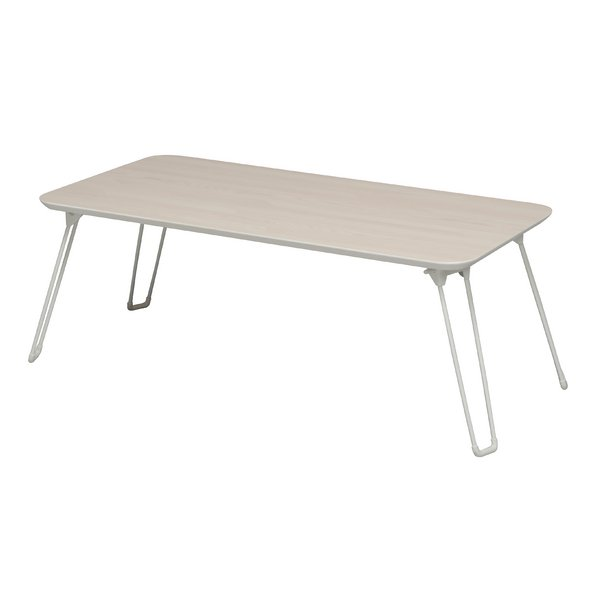 シルエットテーブル(アイボリー/白) 幅80cm×奥行40cm 机/ローテーブル/折り畳み/鏡面加工/木目/高級感/ワイド/完成品/NK-840