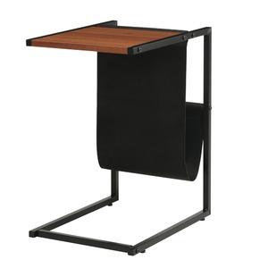 サイドテーブル(ブラウン/茶) 幅40cm 机/ミニテーブル/マガジンラック/収納/スリム/軽量/アイアン/モダン/カフェ/オフィス/フェイクレザー/JST-02BR