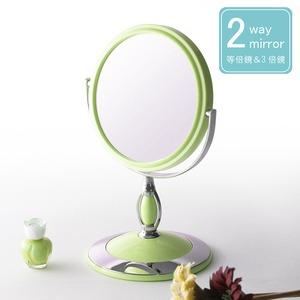 ラウンド卓上ミラー 2WAY(3倍鏡/拡大鏡) 丸型/飛散防止加工/角度調整可/スタンド/鏡/カガミ/完成品/NK-243 パステルグリーン(緑) - 拡大画像