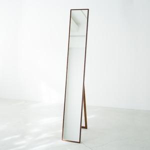 細枠スタンドミラー 幅22cm(ブラウン/茶) 天然木/姿見鏡/スリム/高級感/木製/飛散防止加工/折りたたみ/北欧風/日本製/完成品/NK-1