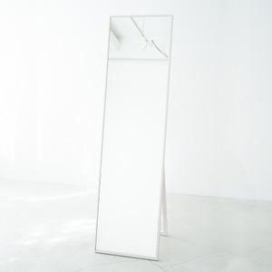 細枠スタンドミラー 幅42cm(ホワイト/白) 天然木/姿見鏡/ワイド/高級感/木製/飛散防止加工/折りたたみ/北欧風/日本製/完成品/NK-3