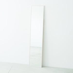 細枠ウォールミラー 幅32cm(ホワイト/白) 天然木/姿見鏡/スリム/高級感/木製/飛散防止加工/壁掛け/北欧風/日本製/完成品/NK-6 - 拡大画像