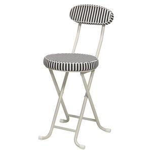 【6脚セット】ラグチェア(折りたたみ椅子/カウンターチェア) オフネイビー 背もたれ付/椅子/いす/ストライプ/ボーダー/軽量/キッチン/コンパクト/スリム/パイプイス/完成品/NK-071