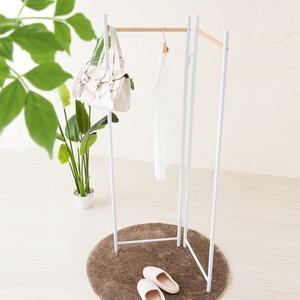 フレームハンガーラック(折りたたみパイプハンガー) 幅44.5cm スチール×天然木 スリム ホワイト(白) h03
