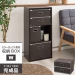 カラーボックス専用収納BOX-W(ダブル)(ブラウン) ストレージボックス/インナーボックス/収納/引き出し/シンプル/完成品/NK-862
