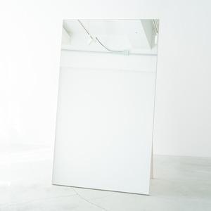 ワイドスタンドミラー(ホワイト/白) 幅90cm 木製/ノンフレーム/飛散防止加工/折りたたみ可/ヨガ/ダンス/北欧風/日本製/完成品/NK-9000 - 拡大画像