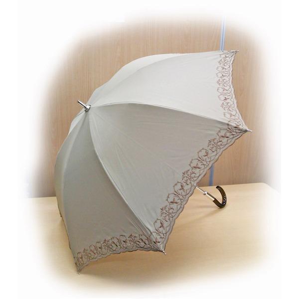 晴雨兼用 雨傘/日傘 【ベージュ】 親骨長さ47cm UVカット率99%以上カット テイジン ナノフロント使用 遮熱パラソル