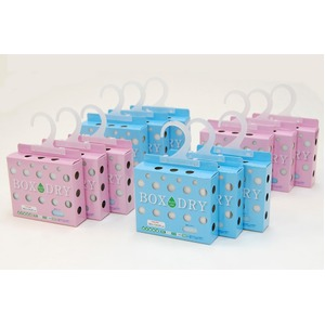 センサー付き 除湿用品 【ボックスドライ 6個入り】 ピンク3個&ブルー3個 消臭 高吸湿効果 TEIJIN テイジン ベルオアシス