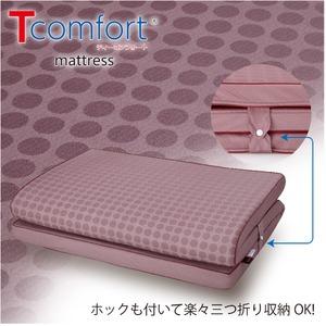 3つ折りマットレス/寝具 【シングル ボルドー 厚さ5cm】 洗えるカバー付 折り畳み 通気性 TEIJIN Tcomfort 〔寝室 リビング〕 - 拡大画像