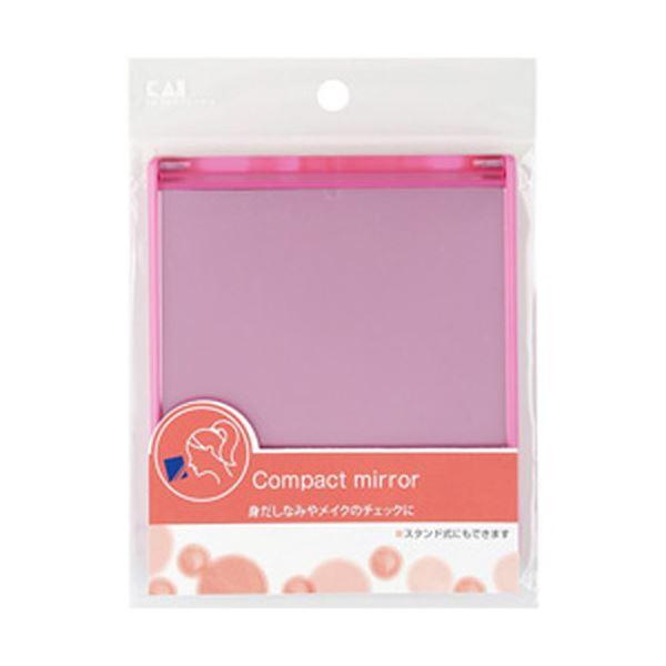 (まとめ)貝印 SS コンパクトミラー(カード式) M ピンク 1個 HL0524【×10セット】