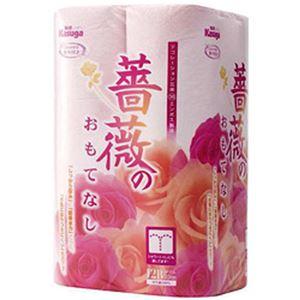 (まとめ)春日製紙工業 薔薇のおもてなし ダブル 11.4cm×25m ピンク 芯径:38mm 直径:102mm 1パック(12ロール)【×10セット】 - 拡大画像