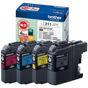 ブラザー純正インクカートリッジ 4色パック 型番:LC211-4PK  単位:1箱(4色パック)