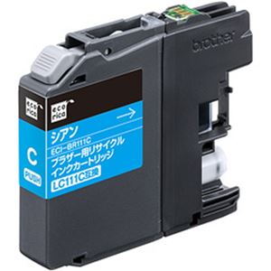 (まとめ)エコリカ リサイクルインクカートリッジ (ブラザー LC111C互換) シアン 1個【×5セット】