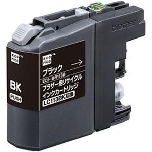 (まとめ)エコリカ リサイクルインクカートリッジ (ブラザー LC113BK互換) ブラック 1個【×5セット】