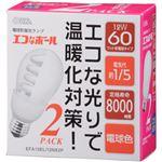 (まとめ)オーム電機 エコなボール E26口金  電球色・12W  1箱(2個) 型番:EFA15EL/12NX2P【×5セット】