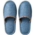 (まとめ)オーミケンシ 外縫いチェック スリッパ ブルー 1足【×5セット】