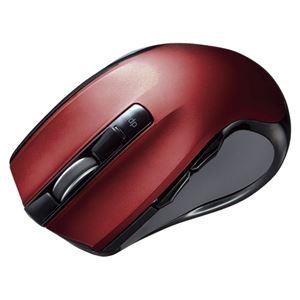 サンワサプライ ワイヤレスブルーLEDマウス レッド MA-WBL38R - 拡大画像