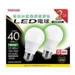 (まとめ) 東芝 LED電球 E26 40W 全方向タイプ 昼白色 2個入【×5セット】