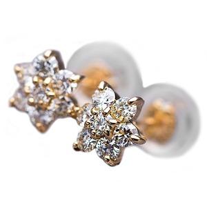 【鑑別書付】K18イエローゴールド 天然ダイヤモンドピアス ダイヤ0.3ctピアス フラワーモチーフ - 拡大画像
