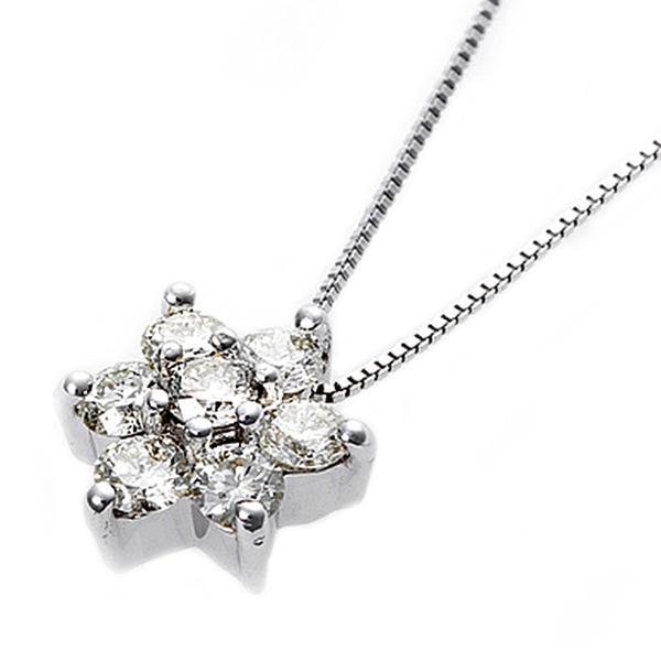 【鑑別書付】K18ホワイトゴールド 天然ダイヤネックレス ダイヤモンドペンダント/ネックレス0.3ct フラワーモチーフ