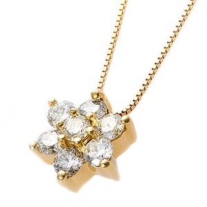 【鑑別書付】K18イエローゴールド 天然ダイヤネックレス ダイヤモンドペンダント/ネックレス0.3ct フラワーモチーフ - 拡大画像