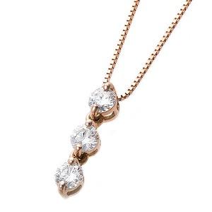 【鑑別書付】ダイヤモンドペンダント/ネックレス 0.24ct スリーストーン K18 ピンクゴールド ダイヤ3ストーン 鑑別書付き - 拡大画像