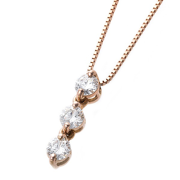 【鑑別書付】ダイヤモンドペンダント/ネックレス 0.24ct スリーストーン K18 ピンクゴールド ダイヤ3ストーン 鑑別書付き