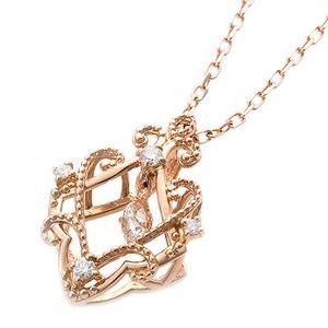 【鑑別書付】K18ピンクゴールド 天然ダイヤネックレス ダイヤモンドペンダント/ネックレス0.13ct フラワーモチーフ - 拡大画像