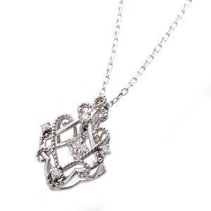 【鑑別書付】K18ホワイトゴールド 天然ダイヤネックレス ダイヤモンドペンダント/ネックレス0.13ct フラワーモチーフ - 拡大画像