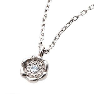 【鑑別書付】プラチナPT900 天然ダイヤネックレス ダイヤモンドペンダント/ネックレス0.014ct フラワーモチーフ - 拡大画像