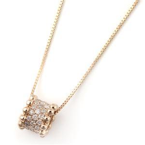 K18ピンクゴールド 天然ダイヤネックレス サークルパヴェダイヤモンドペンダント/ネックレス 合計0.2ct - 拡大画像